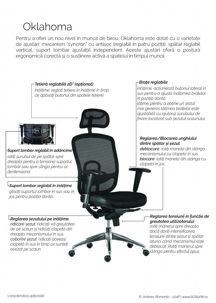 Instrucțiuni de folosire scaun ergonomic Oklahoma