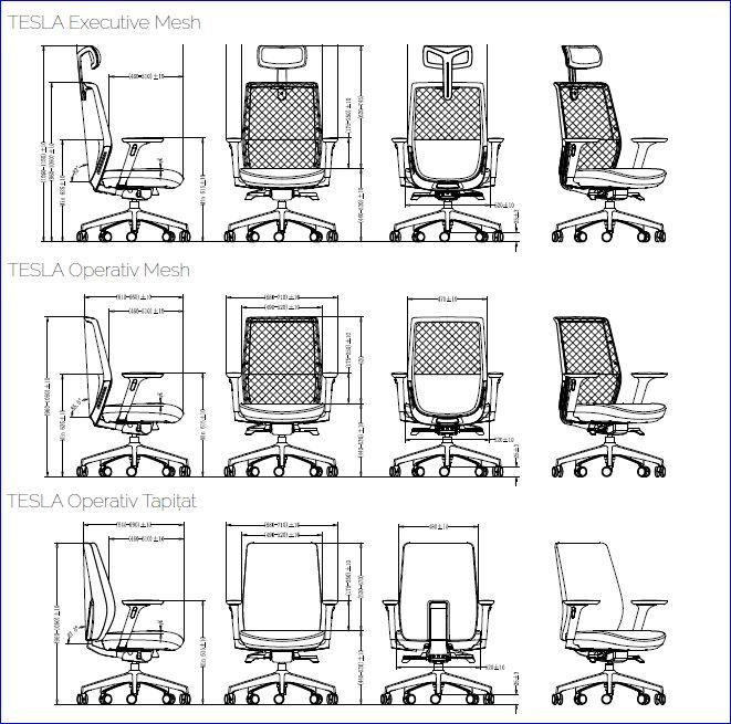 Dimensiuni scaune de birou Tesla